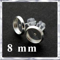 Ezüstözött réz, tányéros bedugós fülbevaló alap 8 mm NIKKELMENTES