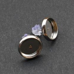 Ródiumos tányéros bedugós fülbevaló alap 10 mm NIKKELMENTES