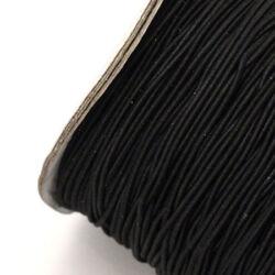 Hengeres gumis fűzőszál 1 mm fekete 1 méter
