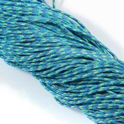 Kék-neonzöld mintás 2 mm vastag paracord stílusú fonott zsinór