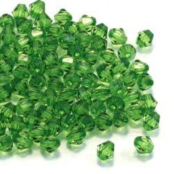 kb. 100 db 6 mm Zöld bicone kúpos akril gyöngy
