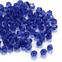 kb. 100 db 6 mm Kék bicone kúpos akril gyöngy