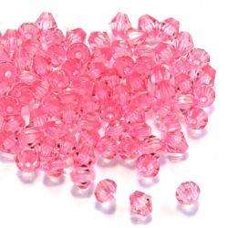 6 mm Rózsaszín bicone kúpos akril gyöngy