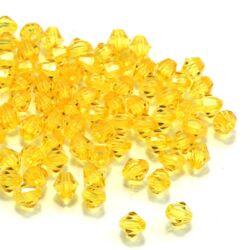 6 mm Sárga bicone kúpos akril gyöngy