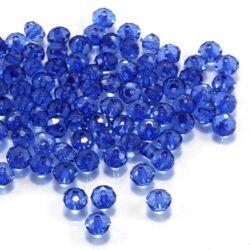 kb. 100 db 6x4 mm Kék abacus rondell alakú akril gyöngy