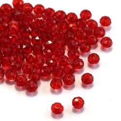 6x4 mm Piros abacus rondell alakú akril gyöngy