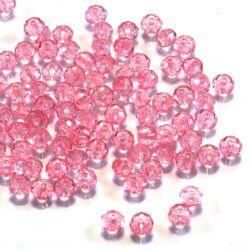 6x4 mm Rózsaszín abacus rondell alakú akril gyöngy