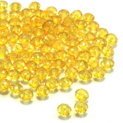 8x6 mm Sárga abacus rondell alakú akril gyöngy