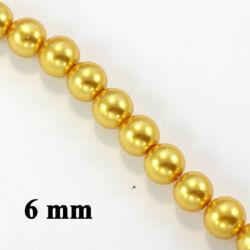 Aranysárga 6 mm 20 db Tekla üveggyöngy