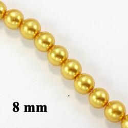 Aranysárga 8 mm 15 db Tekla üveggyöngy