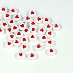 40 db Fehér színű kerek szivecske mintás betű gyöngy