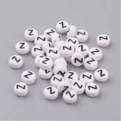 Fehér színű kerek Z betű gyöngy