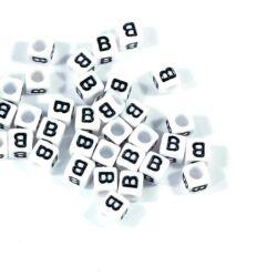 4 db Fehér színű, kocka alakú B betű gyöngy