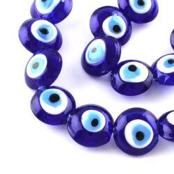 Nazar Ördögszem Evil Eye kerek lapított üveggyöngy Lámpagyöngy 16 mm