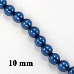 Sötétkék 10 mm 10 db Tekla üveggyöngy