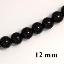 Fekete 12 mm 6 db Tekla üveggyöngy
