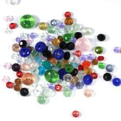 25 g Vegyes színes csiszolt abacus rondell üveggyöngy