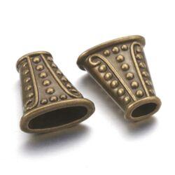 Antikolt bronz színű 18x17 mm pöttyös lapított gyöngykupak