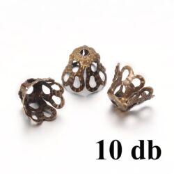 10 db Antikolt bronz színű harang alakú gyöngykupak 5x6 mm