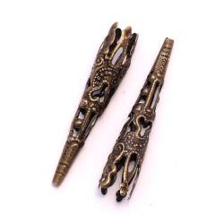 4 db Antikolt bronz színű sárkánykarmos hosszú gyöngykupak NIKKELMENTES
