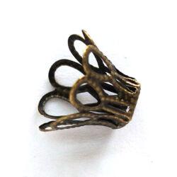 Antikolt bronz színű harang alakú gyöngykupak 17x11 mm 8 db NIKKELMENTES
