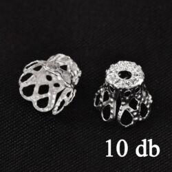 10 db Ezüstözött harang alakú filigrán gyöngykupak 7x8 mm