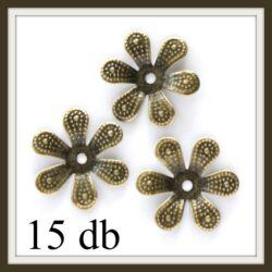 15 db Antikolt bronz színű virág alakú gyöngykupak kő foglalat 16 mm NIKKELMENTES