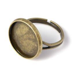 Antikolt bronz, sárgaréz színű, tányéros gyűrű alap 16 mm NIKKELMENTES