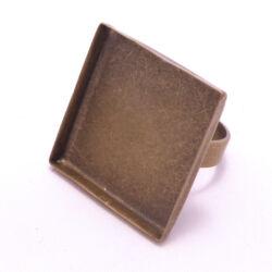 Antikolt bronz színű, réz négyzet tányéros gyűrű alap 25x25 mm NIKKELMENTES