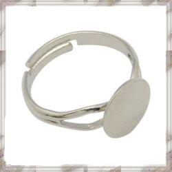 Ezüstözött, réz, vékony lapkás gyűrű alap NIKKELMENTES