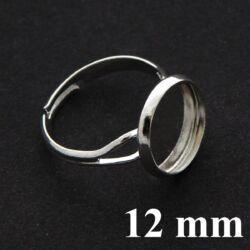 Ezüstözött réz, tányéros gyűrű alap 12 mm NIKKELMENTES