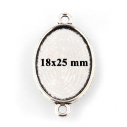 Antikolt ezüst színű 18x25 mm ovális tányéros kapcsoló elem