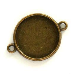 Antikolt bronz színű kerek kapcsoló elem 19 mm NIKKELMENTES