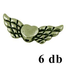 6 db Antikolt bronz színű szivecskés angyalszárny köztes gyöngy NIKKELMENTES