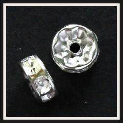 10 db 6 mm Crystal Ezüstözött strasszos rondell köztes NIKKELMENTES
