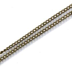 Antikolt bronz csavart szemű vékony lánc 50 cm