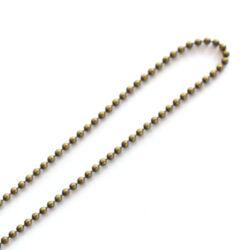 Antikolt bronz golyós lánc 50 cm NIKKELMENTES