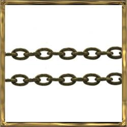 Antikolt bronz kerekded szemű rovátkás lánc 50 cm NIKKELMENTES