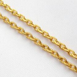 Aranyozott kereszt kerekded lapított szemű vékony lánc 50 cm