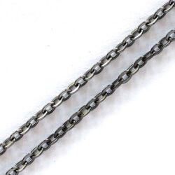 Fekete nikkel színű lapított kereszt szemű vékony lánc NIKKELMENTES