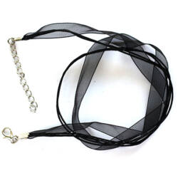 Organza-viaszolt szál nyaklánc alap Fekete