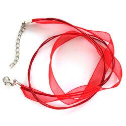 Organza-viaszolt szál nyaklánc alap Piros