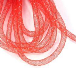 1 méter Piros, ezüsttel szőtt gyöngyháló 8 mm