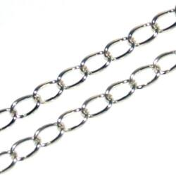 Ezüstözött csavart szemű lánc 50 cm