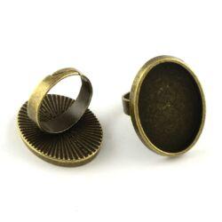 Antikolt bronz színű 18x25 mm ovális tányéros állítható méretű gyűrű alap