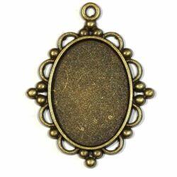Antikolt bronz színű bogyós hullámos szélű üveglencsés medál alap 18x25 mm NIKKELMENTES