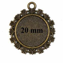 Antikolt bronz színű cakkos szélű üveglencsés medál alap 20 mm NIKKELMENTES
