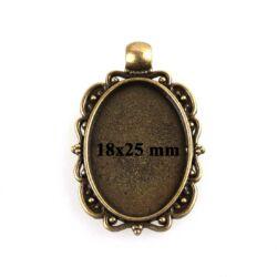 Antikolt bronz színű díszes szélű 18x25 mm ovális üveglencsés medál alap