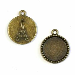 Antikolt bronz színű Eiffel torony hátoldalú üveglencsés medál alap 18 mm