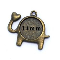 Antikolt bronz színű elefánt szivecskével medál 14 mm NIKKELMENTES